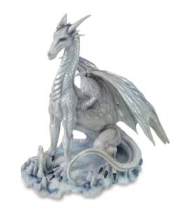 Original Snow Dragon drago bianco seduto