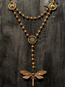 Steampunk Dragonfly Rosary - Collana